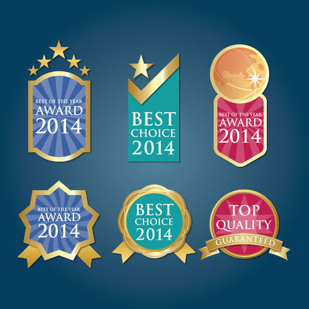Bestseller Guaranteed Labels Badges in blue green red Vettoriali
