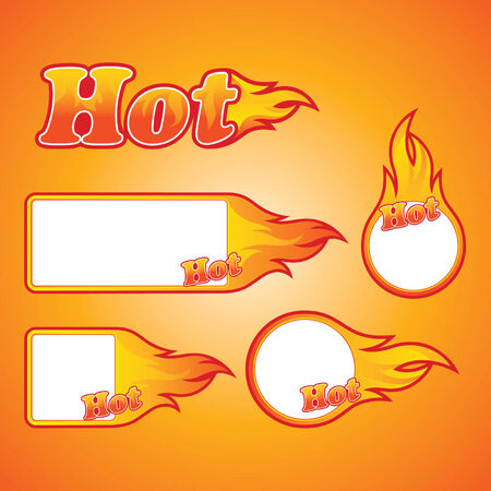 Flaming Hot Label Sign Collection Vector