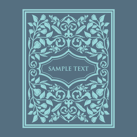 victorian wallpaper: Vintage Blue Frame Background Card Title Page
