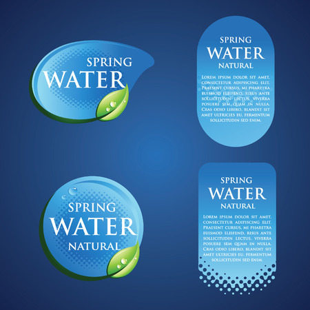 drops of water: Drinking Water Badge Lable in Blue with green leaf