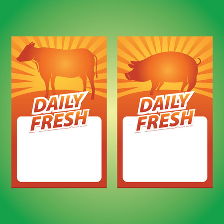 daily fresh meat and pork sign Illustration