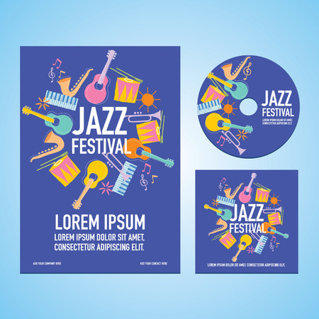 Jazz Music Festival Poster Advertisement with music instruments Ilustração