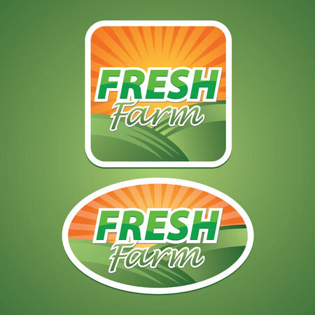 Sticker, Icon or Label for Fresh Farm Vector