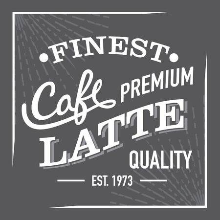 Black and White Finest Premium Coffee Latte Sign Label