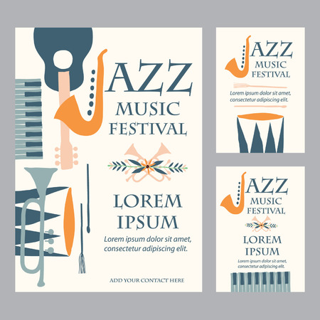 Jazz Music Festival Poster Advertisement with music instruments Vettoriali