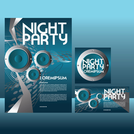 night party poster and leaflet Vector