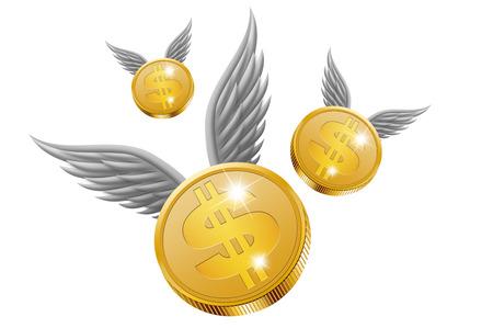 dinero volando: Dinero del vuelo en el fondo blanco