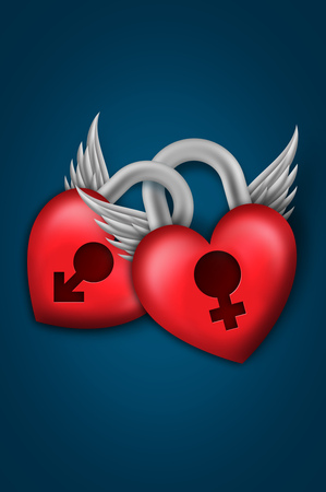 Two red hearts padlock with wings on blue background Stock Photo