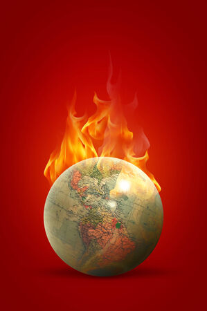 World on fire Stock Photo