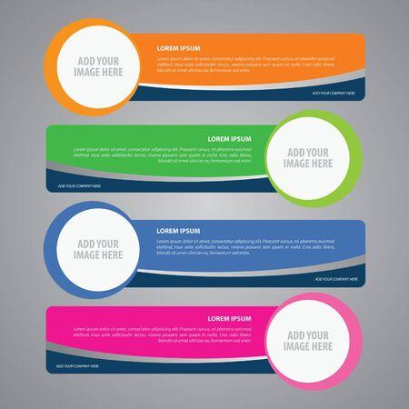 ステップ ライン セット、Web バナー  イラスト・ベクター素材
