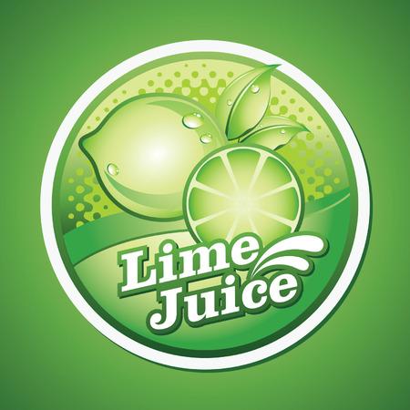 lime juice: lime juice label Illustration