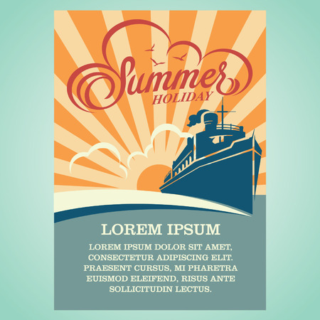 cruise liner summer poster Ilustracja