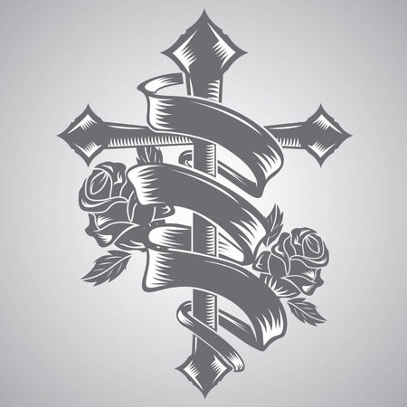 flower rose: cross with ribbon tattoo vector