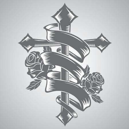 tatouage ange: traverser avec le vecteur de tatouage de ruban Illustration