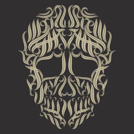 celtic: skull tribal tattoo vector