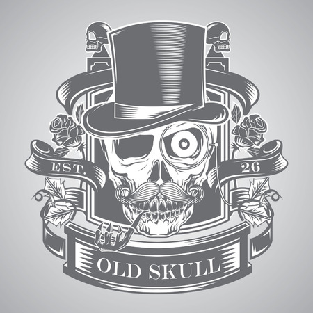 smoking pipe: skull vector