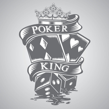 poker king tattoo vector Stock Illustratie