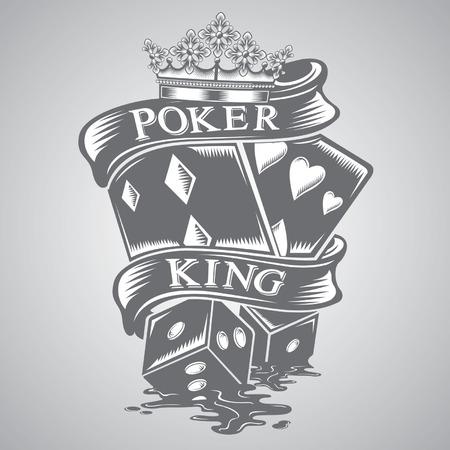 cartas de poker: poker rey tatuaje vector Vectores