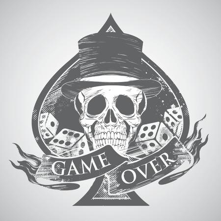 pirate skull: juego tatuaje sobre