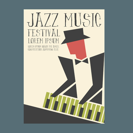 Jazz music players with piano Illustration