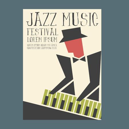 Jazz music players with piano Vettoriali