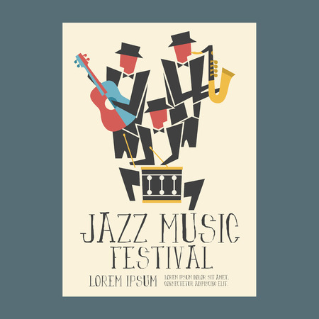 Jazz music players with guitar saxophone and drum poster
