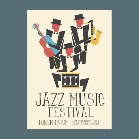 tambor: Reproductores de música de jazz con el saxofón y la guitarra cartel tambor Vectores