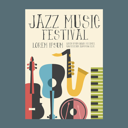 Jazz Music Festival Poster Advertisement with music instruments Vectores