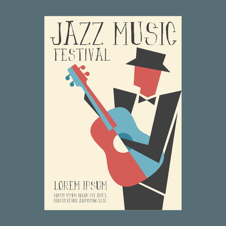 Jazz music players with guitar Vector