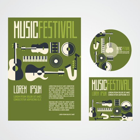 Music Festival Poster Advertisement with music instruments poster cd and cd cover Illustration