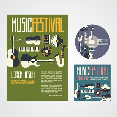 two tone: Music Festival Poster Advertisement with music instruments poster cd and cd cover Illustration