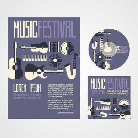 Music Festival Poster Advertisement with music instruments poster cd and cd cover Иллюстрация