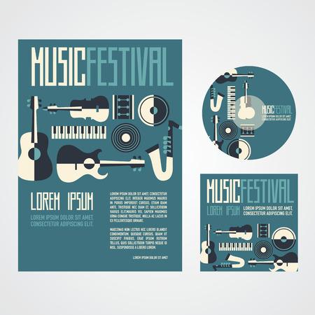 Festival de musique Affiche Publicité avec des instruments de musique affiche cd et cd de couverture Banque d'images - 40726624