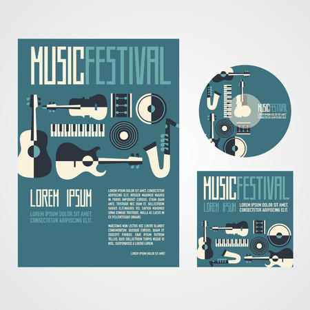 Music Festival Poster Advertisement with music instruments poster cd and cd cover Ilustração