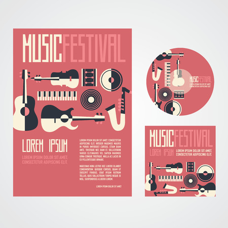 Music Festival Poster Advertisement with music instruments poster cd and cd cover Vettoriali