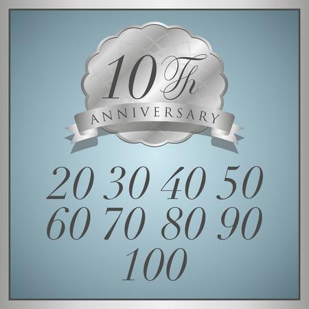 anniversaire: étiquette de platine anniversaire avec ruban Illustration