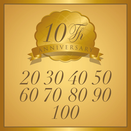 anniversary gold label with ribbon Vettoriali