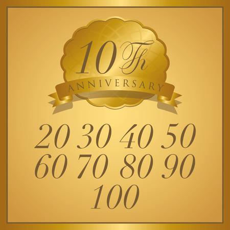 anniversaire: étiquette d'or d'anniversaire avec un ruban
