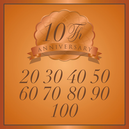90th: anniversary bronze label with ribbon