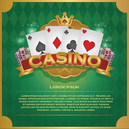 Casino background poker and casino label