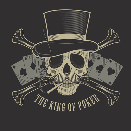 black head and moustache: the king of poker tattoo Illustration