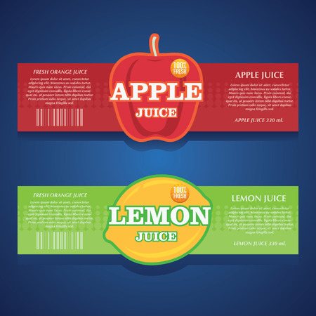 apple juice, lemon juice label Ilustracja