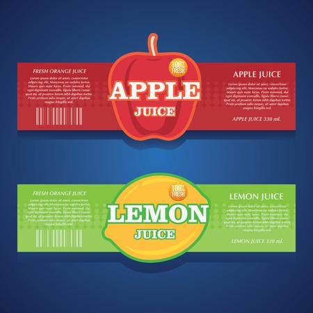 apple juice, lemon juice label Vettoriali