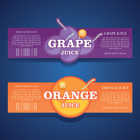 orange juice: grape juice, orange juice label Illustration