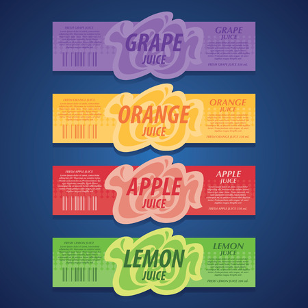 fresh fruits labels set Illustration