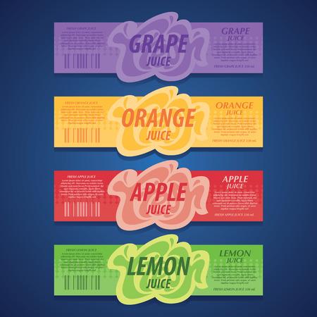 fresh fruits labels set Illustration