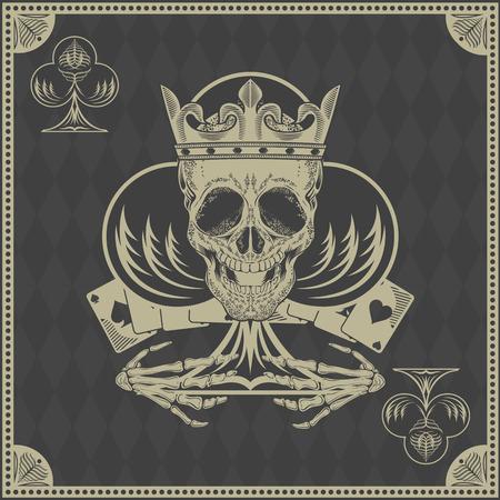 damnation: skull poker card vector