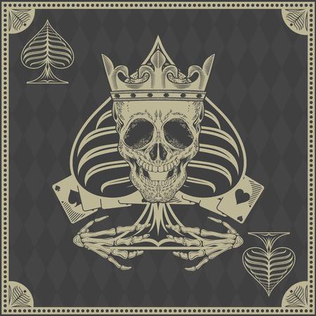 poker card: skull poker card vector