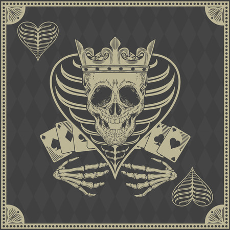 casinos: skull poker card vector