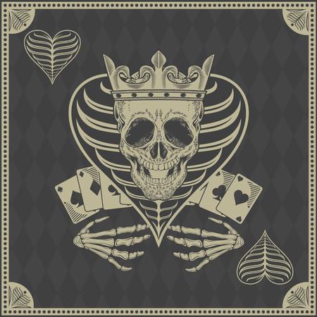 poker: skull poker card vector